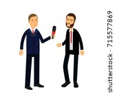 male journalist character with... | Shutterstock .eps vector #715577869
