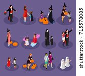 isometric halloween holiday... | Shutterstock .eps vector #715578085