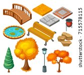 Isometric Autumn Park Landscap...