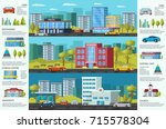 colorful cityscape brochure... | Shutterstock .eps vector #715578304