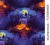 seamless halloween pattern with ... | Shutterstock .eps vector #715585405