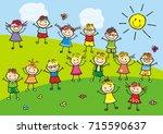 group of kids  vector... | Shutterstock .eps vector #715590637