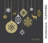 christmas decorations. vector... | Shutterstock .eps vector #715592881