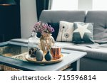 home interior decor in gray and ... | Shutterstock . vector #715596814