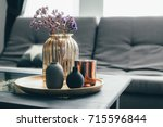 home interior decor in gray and ... | Shutterstock . vector #715596844