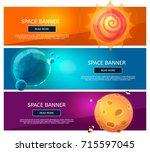 creative fantsy planets banner... | Shutterstock .eps vector #715597045