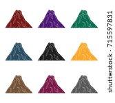 a fiery volcano.a mountain in... | Shutterstock .eps vector #715597831
