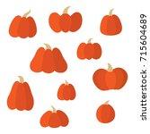 set of pumpkins of different... | Shutterstock . vector #715604689