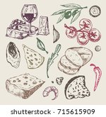hand drawn italian food. cheese ... | Shutterstock .eps vector #715615909