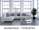 modern bright interiors. 3d... | Shutterstock . vector #715616761