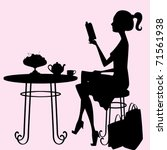 a female silhouette sitting at...   Shutterstock .eps vector #71561938