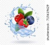 splash of fresh mixed forest... | Shutterstock .eps vector #715619629