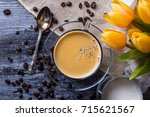composition of coffee with milk | Shutterstock . vector #715621567