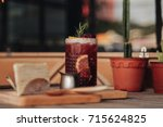 iced tea with lemon and... | Shutterstock . vector #715624825