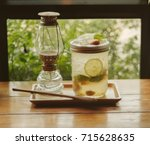 iced plum juice mixed with... | Shutterstock . vector #715628635