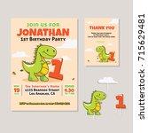 cute dinosaur theme 1st... | Shutterstock .eps vector #715629481
