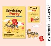 cute dinosaur theme 8th... | Shutterstock .eps vector #715629517