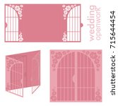 vector wedding card laser cut... | Shutterstock .eps vector #715644454