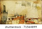 vintage post card series- cities- Prague - stock photo