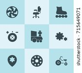 set of 9 wheel filled icons... | Shutterstock .eps vector #715649071