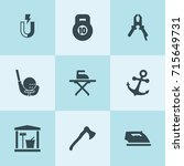 set of 9 iron filled icons such ... | Shutterstock .eps vector #715649731
