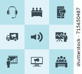 set of 9 speaker filled icons... | Shutterstock .eps vector #715650487