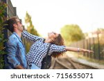 couple in love sharing emotions ... | Shutterstock . vector #715655071