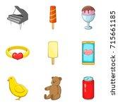 entertain icons set. cartoon... | Shutterstock .eps vector #715661185