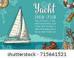 horizontal poster for yacht... | Shutterstock .eps vector #715661521