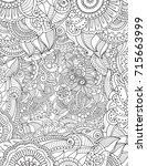 zentangle adult coloring page... | Shutterstock .eps vector #715663999