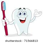 cartoon tooth holding a... | Shutterstock .eps vector #71566813