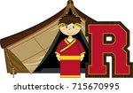 r is for roman   cute cartoon... | Shutterstock .eps vector #715670995