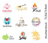 vector set of restaurant logo... | Shutterstock .eps vector #715671964