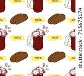 kvass. glass and bread.... | Shutterstock .eps vector #715675174