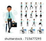 male black african clerk 2d... | Shutterstock .eps vector #715677295