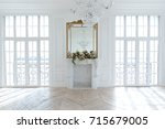 chic white huge spacious hall... | Shutterstock . vector #715679005
