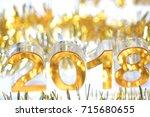 golden 2018 3d digital icon in... | Shutterstock . vector #715680655