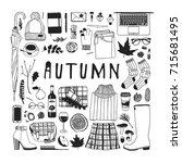 hand drawn fall fashion... | Shutterstock .eps vector #715681495