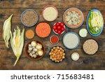 assorted raw indian cuisine on... | Shutterstock . vector #715683481