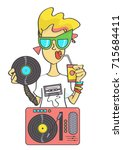 cool retro girl with gramophone ... | Shutterstock .eps vector #715684411