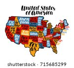 usa map country  united states... | Shutterstock .eps vector #715685299