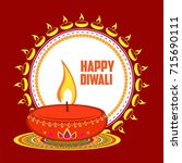 happy diwali diya  oil lamp... | Shutterstock .eps vector #715690111
