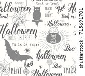 halloween vector seamless... | Shutterstock .eps vector #715691701