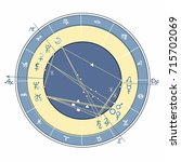 blue natal astrological chart ... | Shutterstock .eps vector #715702069