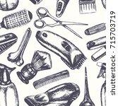 barber equipment   one color... | Shutterstock . vector #715703719