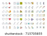 set vector line icons  sign and ... | Shutterstock .eps vector #715705855