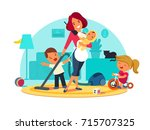 busy mother feeds child   Shutterstock .eps vector #715707325