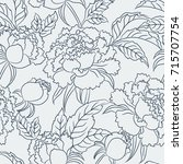 peony seamless pattern. floral... | Shutterstock . vector #715707754