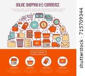 e commerce  shopping concept in ... | Shutterstock .eps vector #715709344