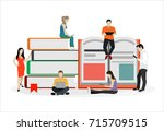e learning concept. young... | Shutterstock .eps vector #715709515